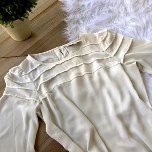LOFT Cream Sheer 3/4 Sleeve Pleated Layer Blouse